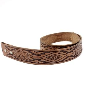 Vintage Aztec Leather Belt Tooled Small Tribal S